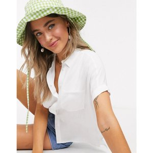 ニュールック New Look レディース ブラウス・シャツ トップス short sleeve shirt in off white ホワイト|fermart