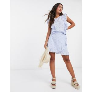 ピーシーズ Pieces レディース スカート ラップスカート frill wrap skirt in blue ブルー|fermart