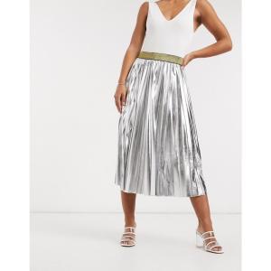 ジョンザック John Zack レディース ひざ丈スカート スカート pleated metallic midi skirt in silver シルバー|fermart