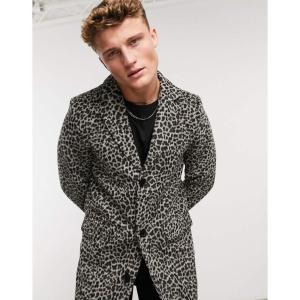 ネイティブユース Native Youth メンズ コート アウター overcoat in leopard マルチカラー|fermart
