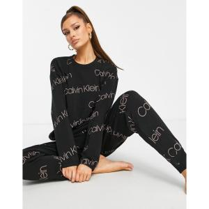 カルバンクライン Calvin Klein レディース スウェット・トレーナー トップス Icon Lounge Diagonal Icon Logo Print Lounge Sweat Top In Black ブラック fermart