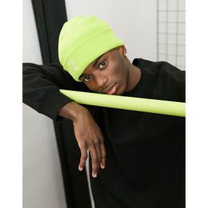 カンゴール Kangol メンズ ニット ビーニー 帽子 pull on logo beanie hat in lime グリーン|fermart