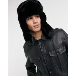 カンゴール Kangol メンズ 帽子 faux fur trapper hat in black ブラック|fermart