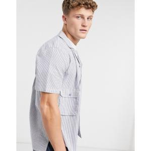 ネイティブユース Native Youth メンズ 半袖シャツ トップス short sleeve shirt with pockets in navy ネイビー|fermart