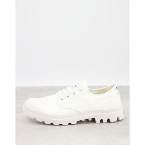 パラディウム Palladium レディース スニーカー レースアップ シューズ・靴 Pampa organic casual lace-up trainers in white スターホワイト|fermart