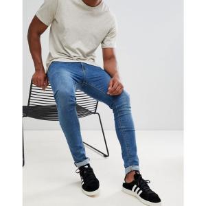 エイソス ASOS DESIGN メンズ ジーンズ・デニム ボトムス・パンツ super skinny jeans in mid wash Blue|fermart