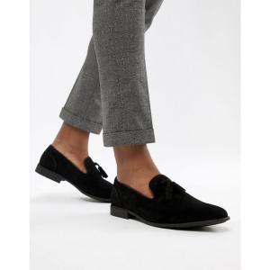 エイソス ASOS DESIGN メンズ ローファー シューズ・靴 tassel loafers in black faux suede Black fermart