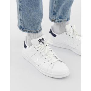 アディダス adidas Originals メンズ スニーカー スタンスミス シューズ・靴 Stan Smith leather trainers in white and navy ホワイト|fermart