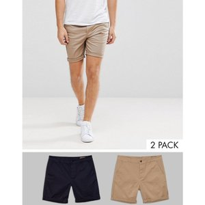 エイソス ASOS メンズ チノパン ボトムス ASOS 2 Pack Slim Chino Shorts In Mid Length SAVE 17% Stone/navy|fermart