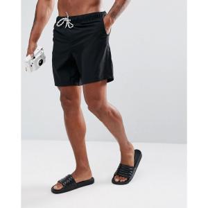 エイソス メンズ 海パン 水着 ASOS Swim Shorts In Black Mid Length Black|fermart