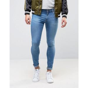 エイソス メンズ ジーンズ・デニム ボトムス・パンツ ASOS Extreme Super Skinny Jeans In Mid Blue Mid blue|fermart