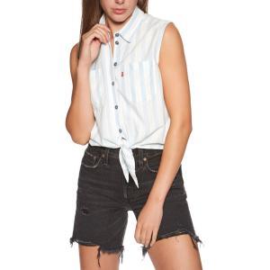 リーバイス Levi's レディース ブラウス・シャツ トップス alina tie short sleeve shirt Amber Stripe Chambray|fermart