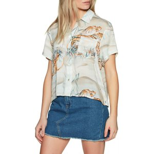 ハーレー Hurley レディース ブラウス・シャツ トップス getaway printed short sleeve shirt Midnight Turq|fermart