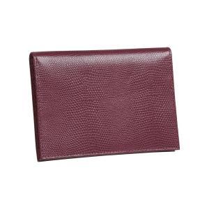 ブッドレザー Budd Leather ユニセックス パスポートケース Lizard Print Calf Large Passport Case Fuchsia fermart