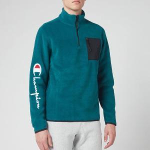 チャンピオン Champion メンズ スウェット・トレーナー トップス Sleeve Script Half Zip Top Sweatshirt - Green Green|fermart