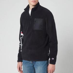 チャンピオン Champion メンズ スウェット・トレーナー トップス Sleeve Script Half Zip Top Sweatshirt - Black Black|fermart