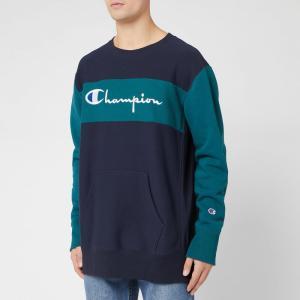 チャンピオン Champion メンズ スウェット・トレーナー トップス Color Block Crew Sweatshirt - Navy Navy/Green|fermart