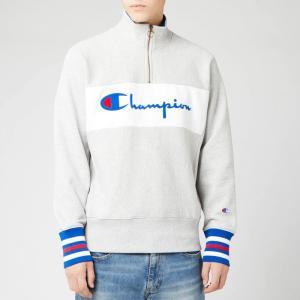 チャンピオン Champion メンズ スウェット・トレーナー トップス big script half zip sweatshirt - grey marl Grey|fermart