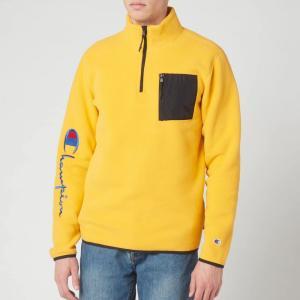 チャンピオン Champion メンズ スウェット・トレーナー トップス Sleeve Script Half Zip Top Sweatshirt - Yellow Yellow|fermart