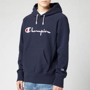 チャンピオン Champion メンズ スウェット・トレーナー トップス Big Script Hooded Sweatshirt - Navy Navy|fermart
