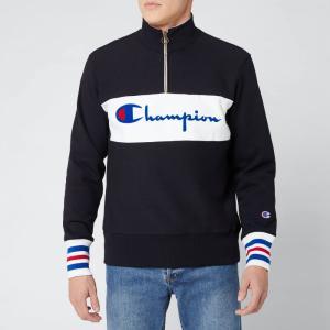 チャンピオン Champion メンズ スウェット・トレーナー トップス Big Script Half Zip Sweatshirt - Black Black|fermart