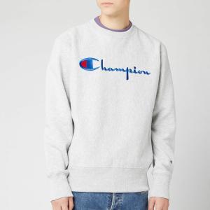 チャンピオン Champion メンズ スウェット・トレーナー トップス big script sweatshirt - grey marl Black|fermart