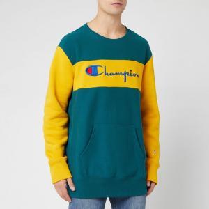 チャンピオン Champion メンズ スウェット・トレーナー トップス Color Block Crew Sweatshirt - Green Green/Yellow|fermart