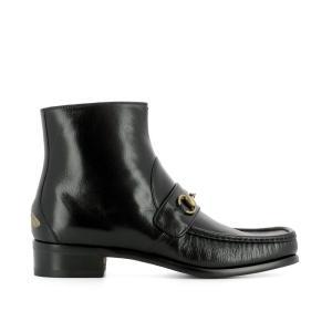 グッチ Gucci メンズ ブーツ シューズ・靴 Black leather heeled ankle boots Black|fermart