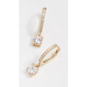 シャシ Shashi レディース イヤリング・ピアス ジュエリー・アクセサリー Solitaire Pave Huggie Earrings Yellow Gold/Clear|fermart