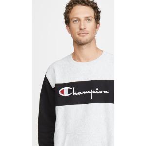 チャンピオン Champion Premium Reverse Weave メンズ スウェット・トレーナー トップス Colorblock Crew Neck Sweatshirt Oxford Grey|fermart