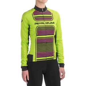 パールイズミ Pearl Izumi レディース トップス 自転車 ELITE Thermal LTD Cycling Jersey - Full Zip, Long Sleeve Screaming Green Stripe|fermart