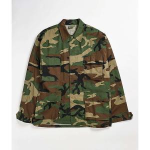 ロスコ ROTHCO メンズ シャツ トップス bdu woodland camo long sleeve button up shirt Dark green|fermart
