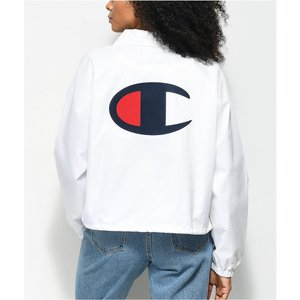 チャンピオン レディース ジャケット アウター Champion Crop White Coaches Jacket White|fermart