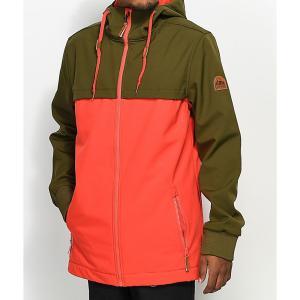 エンパイア メンズ アウター スキー・スノーボード Empyre Headwall Olive & Red 10K Softshell Jacket Neon red|fermart
