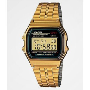 ジーショック G-SHOCK メンズ 腕時計 Casio A159WGEA-1VT Vintage Black & Gold Watch Gold|fermart