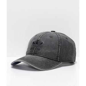 アディダス ADIDAS メンズ キャップ 帽子 Original Relaxed Washed Black Strapback Hat Black|fermart