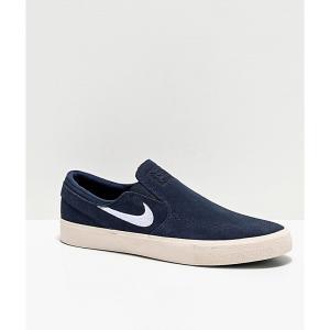 ナイキ NIKE SB メンズ スリッポン・フラット シューズ・靴 janoski obsidian slip-on suede skate shoes Blue|fermart