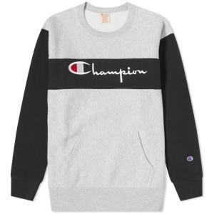 チャンピオン Champion Reverse Weave メンズ スウェット・トレーナー トップス colour block crew sweat Grey Marl/Black|fermart