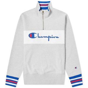 チャンピオン Champion Reverse Weave メンズ スウェット・トレーナー トップス big script block half zip Grey Marl|fermart