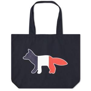メゾン キツネ Maison Kitsune メンズ トートバッグ トリコロール バッグ Tricolour Fox Tote Bag Navy fermart