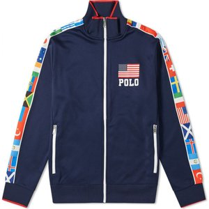 ラルフ ローレン Polo Ralph Lauren メンズ ジャージ アウター Flag Taped Polo Track Jacket Newport Navy|fermart