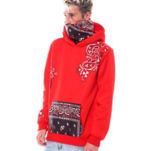 リーズン Reason メンズ パーカー トップス bandana face-cover hoodie Red|fermart