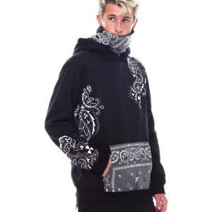 リーズン Reason メンズ パーカー トップス bandana face-cover hoodie Black|fermart