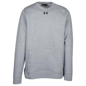 アンダーアーマー メンズ スウェット・トレーナー トップス Under Armour Team Hustle Fleece Crew True Gray Heather/Black|fermart