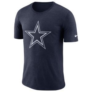 ナイキ Nike メンズ 長袖Tシャツ トップス nfl tri-blend historic crackle 3/4 t-shirt NFL Dallas Cowboys Navy|fermart