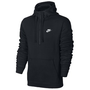 ナイキ Nike メンズ パーカー トップス Club Half Zip Fleece Hoodie Black/Black/White|fermart