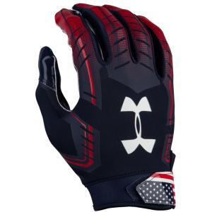 アンダーアーマー メンズ グローブ アメリカンフットボール F6 Football Gloves Navy/White/Red/Usa fermart