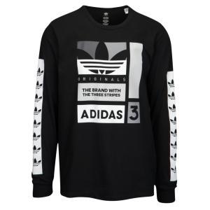 アディダス メンズ 長袖Tシャツ トップス Graphic Long Sleeve T-Shirt Black/White/Grey|fermart