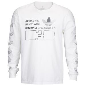 アディダス メンズ 長袖Tシャツ トップス Graphic Long Sleeve T-Shirt White|fermart
