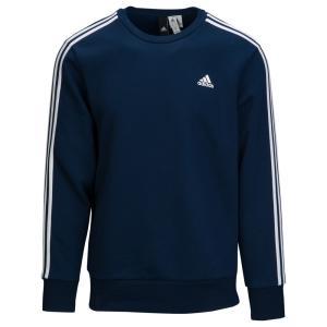 アディダス adidas Athletics メンズ スウェット・トレーナー トップス Essential 3 Stripe Crew Collegiate Navy/White|fermart
